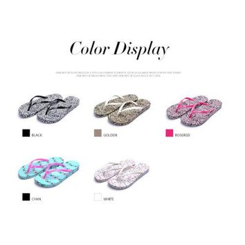 new non-slip flat flip flops casual summer sandals and slippers women leopard