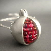 Pomegranate Necklace  Ruby and Matte Silver by Artesserae on Etsy