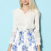Tender Lace Trimmed Pleated Chiffon Top White S/M