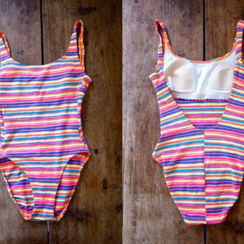 80s Striped Neon Swimsuit One Piece Bathing Suit 1980s Orange Yellow Green Swim Suit Womens High Cut Summer Swimming Suit XS Small