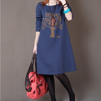 New Korean style Top Quality Vestidos Plus Size Vintage Embroidery long sleeve Cotton Dresses Womens Loose Casual Autumn Dress