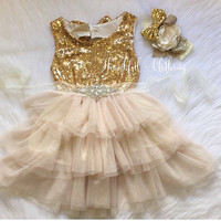 Flower Girl Dress, Ivory Flower Girl Dress, Gold sequin Dress, Ivory lace dress, ivory tulle dress, girls gold sparkle dress