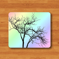 Rainbow Tree Pastel Colored Mouse Pad Drawing Tree Branch Shadow Art Rubber MousePad Winter Gift Personalized Custom Computer Pad Boss Gift