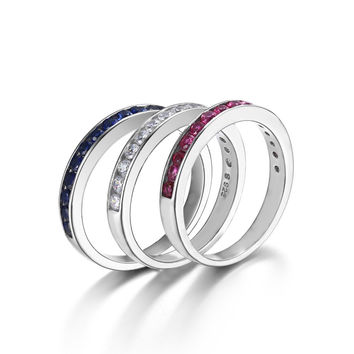 1.8ct Round Created Ruby Sapphire Band Eternity Ring 925 Sterling Silver