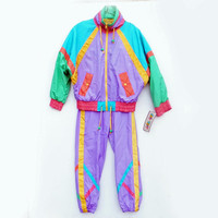 Neon 80's Tracksuit, Color Block, Unworn, Sweatsuit, Tags still on, New Wave, Geometric, Abstract,Color Block, Cool for Cats