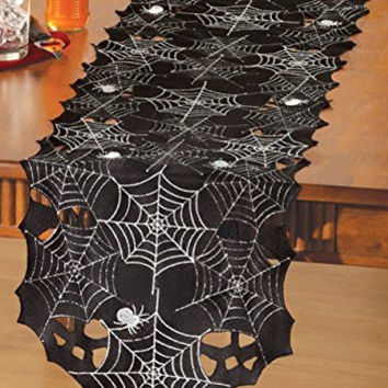 Silver Black Lacy Spiderweb Halloween Table Runner