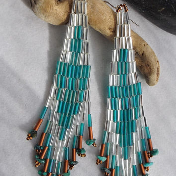 Seed Bead Handwoven Chandelier, Dangle, Southwestern, Native Style Thunderbird Earrings with Turquoise Nuggets on Fringe, Gift for Her
