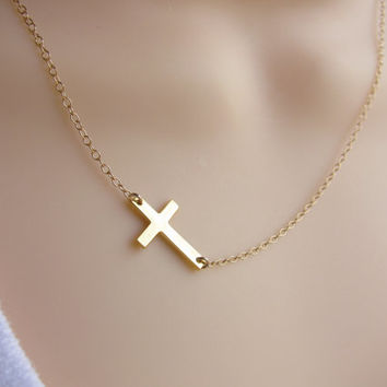 Sideways Cross Necklace, Gold Cross Necklace, Horizontal cross, celebrity jewelry, Kelly Ripa Cross, Miley Cyrus, Godmother gift