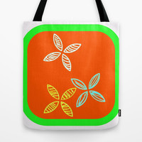 MCM Orange Green Flowers Tote Bag by Jensen Merrell Designs | Society6