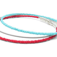 Bangle Bracelet Stack // Set of 3 Bracelets // Red & Turquoise Seed Beads, Silver Guitar String Bracelet / Stackable Bangle Bracelets / Gift