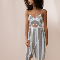 Striped Cut-Out Midi Dress