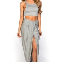 Devi Gray Crop Top Two Piece Maxi Summer Dress Set