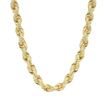"""925 Sterling Silver Rope Necklace 14k Gold Finish Iced Out 24"""" Chain 11mm Custom"""