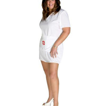 Women's  Halloween Costume - White Women's Nurse Uniform With A Red And White Cross On The Front Of The Apron  The Cross Is On The Cap As Well