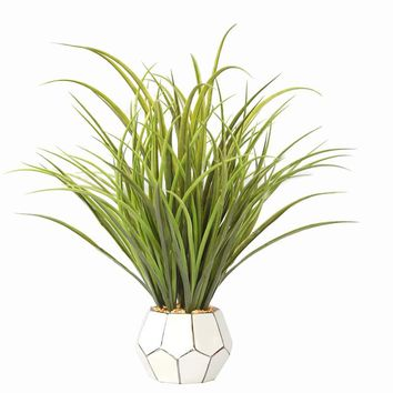 "17"" Tall Plastic Grass and Onion Grass in Ceramic Pot"