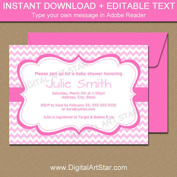 Girl Baby Shower Invitations - Digital Download Printable Pink Baby Shower Invites - Pink Chevron Party Invitation It's a Girl Invitation 2P