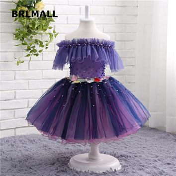 2018 Cute Flower Girl Dresses Purple Tulle Applique Beading Tea Length Cheap Ball Flower Girl Gowns