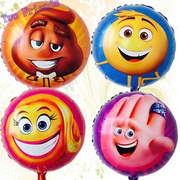New Funny Emoji foil balloons 18inch 10pcs happy birthday party decorations  kids toys gifts halloween party supplies balloon