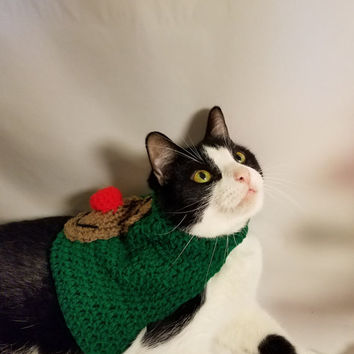 Reindeer Cat Sweater-holiday cat sweater-ugly sweater for cats- clothing for cats