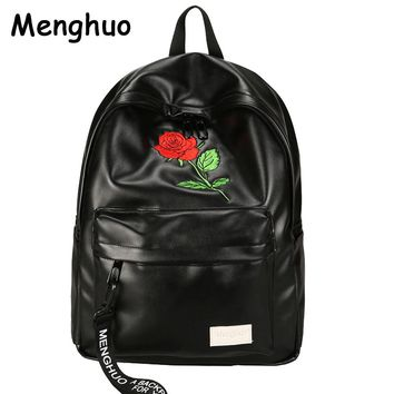 Menghuo Preppy Style School Backpack 2 Different Sizes Lovers Backpack  Unisex PU Leather Backpack Travel Bags Teenagers Mochila