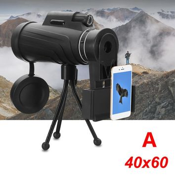 40x60 magnification Adjustable Waterproof HD Lens Zoom Monocular Phone Telescope+Bag+Tripod For Samsung Galaxy For Huawei Travel