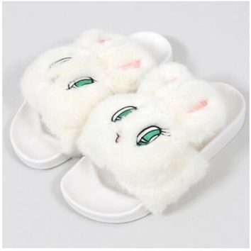 Lolita Shoes Japan Style Hairy Slippers Esther Kim Bunny Shoes For Daily Rabbit's Hair