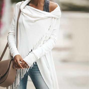 Conmoto Knitted Cardigan Women Loose off Shoulder Long Sleeve Tassel Cloak Solid Irregular Poncho Pullover Winter Clothes