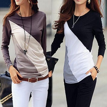 New Arrival Fashion Cotton Long sleeve T-shirt O-Neck Mixed Color T Shirt  Blusas Femininas Free Shipping