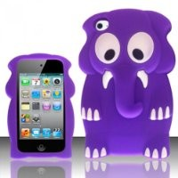 For Apple Ipod Touch 4 Gen 4G 4th - Elephant Style 3D Design Silicone Flexible Cover Case - Purple SCELE