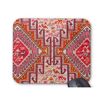 Kilim Print Mouse Pad/Mousepad, Nature/Animal in Coral, Red and Orange, Southwest