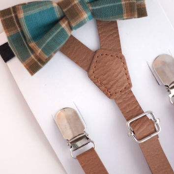 SUSPENDER & BOWTIE SET.  Newborn - Adult sizes. Light brown pu leather suspenders. Brown / turquoise plaid bow tie.