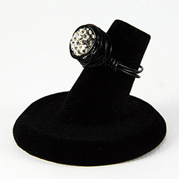 Black Sparkly Ring, Black Wire Wrapped Ring, White Sparkly Ring
