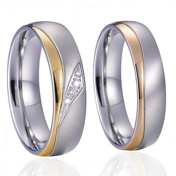 Unique Alliance Anel Ouro Titanium Promise Wedding Band Couple Rings Pair Set for men and women Gold Color Anillos