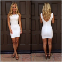 Frozen Arrow Quilted Dress - WHITE