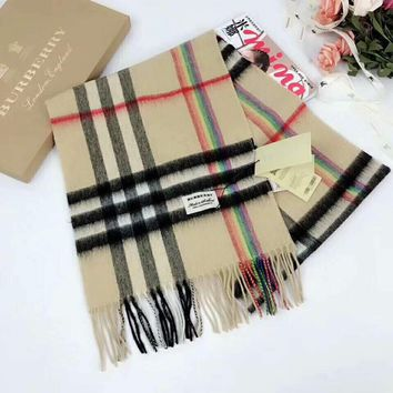 Burberry new classic lattice tassel shawl cashmere scarf Khaki