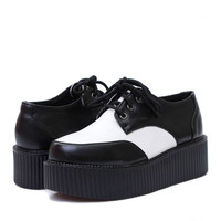 Black and White Women's Fashion Creeper shoes Suede Large round Flat Platform Lace Up Goth Creepers Punk Casual Shoes