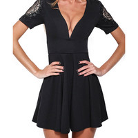 V-neck Lace Accent Short Sleeve A-Line Mini Skater Dress