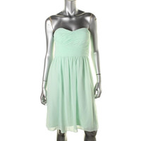 Donna Morgan Womens Juniors Pleated Strapless Party Dress