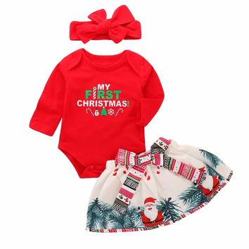 My First Christmas Onesuit with Skirt & Headband