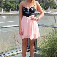 Peach Strapless Chiffon Dress with Jewel Embellishment, Dres from xeniaeboutique