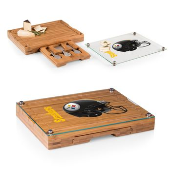 Pittsburgh Steelers 'Concerto' Glass Top Cheese Board & Tools Set-Bamboo Digital Print