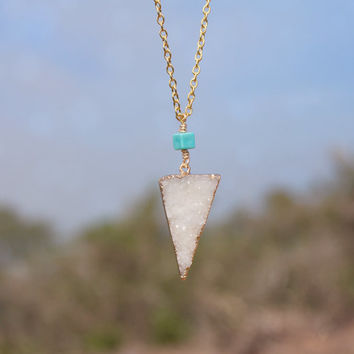 White Crystal Triangle Druzy + Turquoise Charm Necklace // Geometric Bohemian Minimalist Layered Necklace // Boho Tribal Gypsy Jewelry