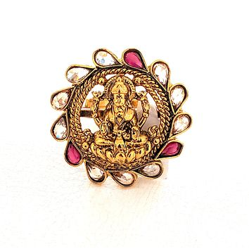 Round shaped Goddess Lakshmi center Traditional adjustable Finger ring - Design 1