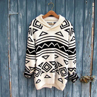 STOREWIDE SALE .. Vintage black and white oversized sweater // bill cosby sweater / men's size XXL