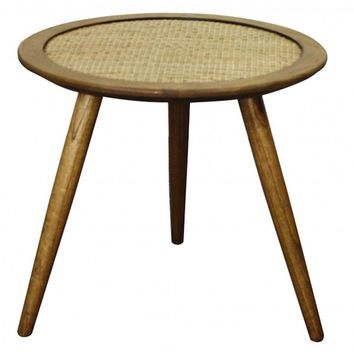 Kavi Round Side Table OAK AND RATTAN