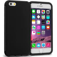 Black / Black Hybrid Hard TPU Shockproof Case Cover With Built in Screen Protector for Apple iPhone 6 Plus 6S Plus (5.5)