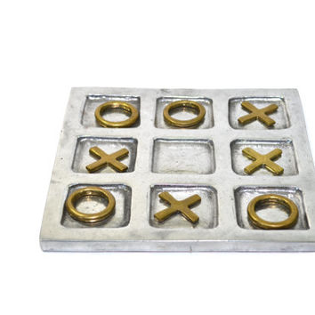 Vintage Silver Tic Tac Toe Game Silver Tic Tac Toe Vintage Board Games Silver and Brass Decor Table Top Decor