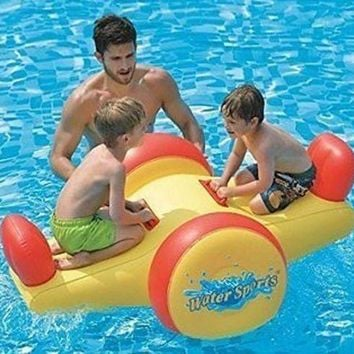 ONETOW 57' Yellow and Red Children's Inflatable Water Sports Swimming Pool Seesaw Float