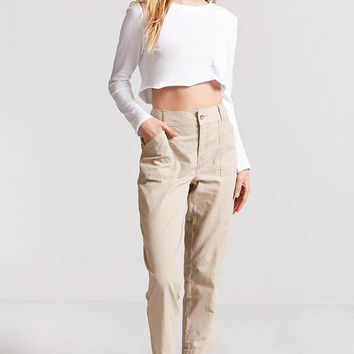 Relaxed Seam-Stitch Cropped Pants