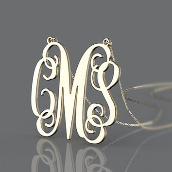 Gift pendant name monogram gold plated necklace 1 inch with 3 initial monogram